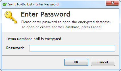 Dialog asking for password to open encrypted database