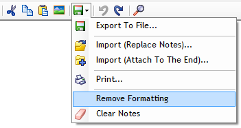 Notes advanced menu (import, export, print, remove formatting, clear notes)