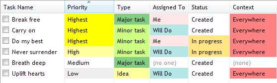 Custom colors in task-view