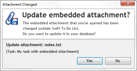 Updating embedded attachment