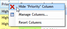 Hide column in Swift To-Do List via right-click menu