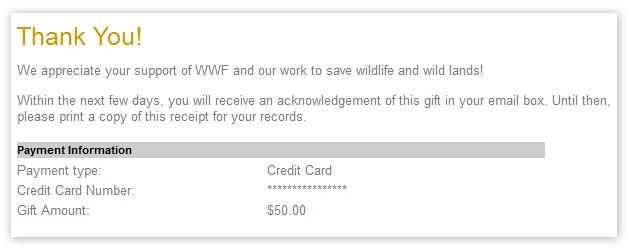 $50 sent to WWF