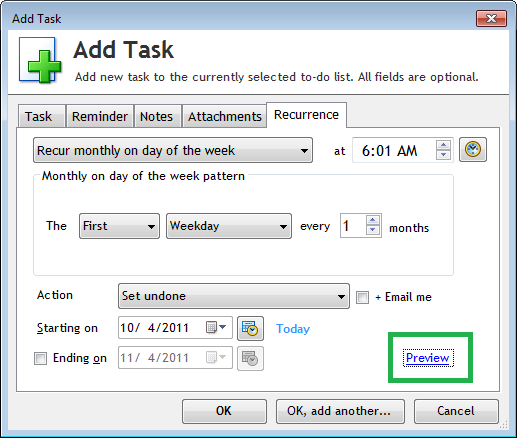 Preview Recurrence in Add Task or Edit Task window