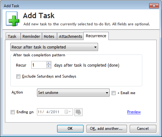 Recur tasks after completion