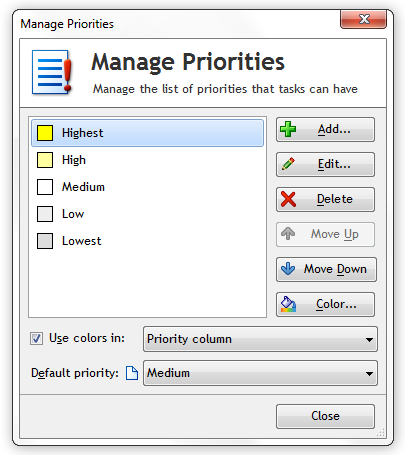 Default Swift To-Do List Priorities