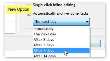 Automatic archiving of done tasks