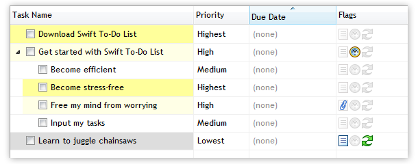 Colors in Task Name column based on priorities