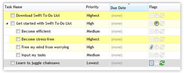 Color whole rows in Swift To-Do List based on Priority