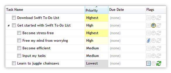 Colors in Priority column in Swift To-Do List