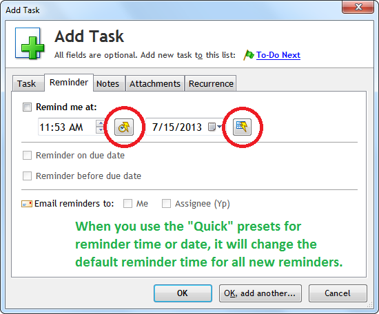 Reminder Tab in the Add/Edit Task window
