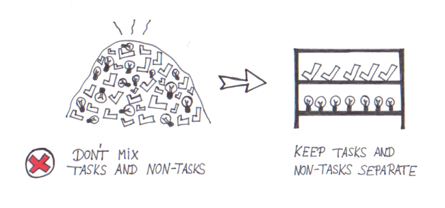 To get organized, keep your tasks and non-tasks separate